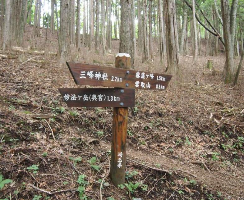 妙法ヶ岳分岐 標高1329m 三峯神社 奥宮 登山道