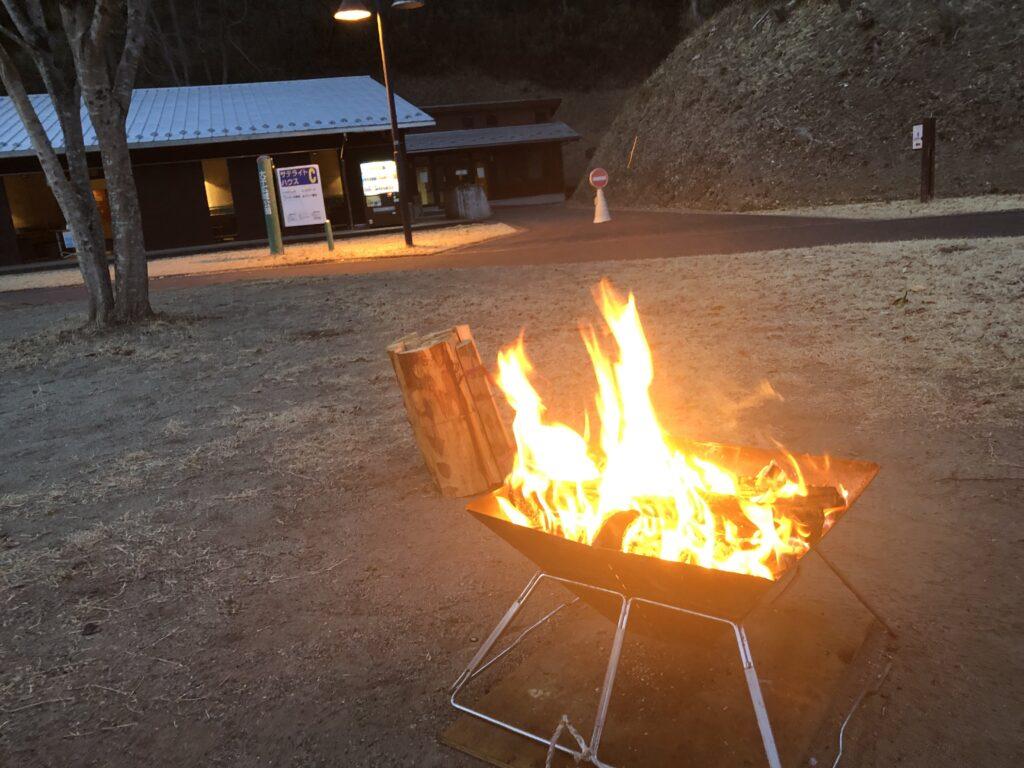 大子広域公園オートキャンプ場 グリンヴィラ 焚火