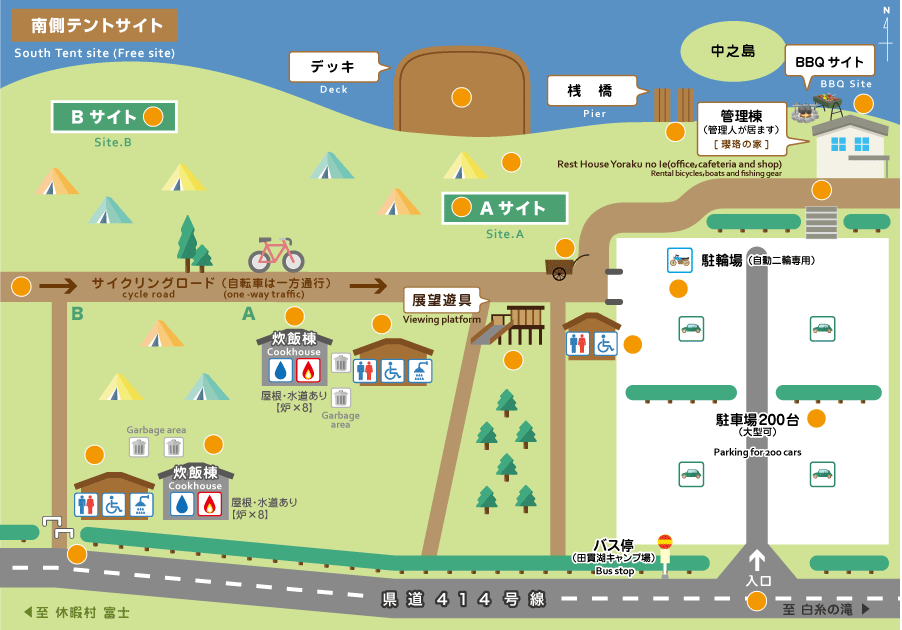田貫湖キャンプ場 南側テントサイトマップ
